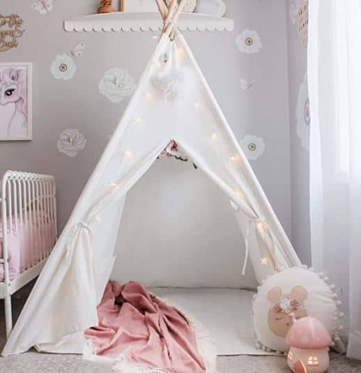 Kids Teepee Tent with Mat & Light String