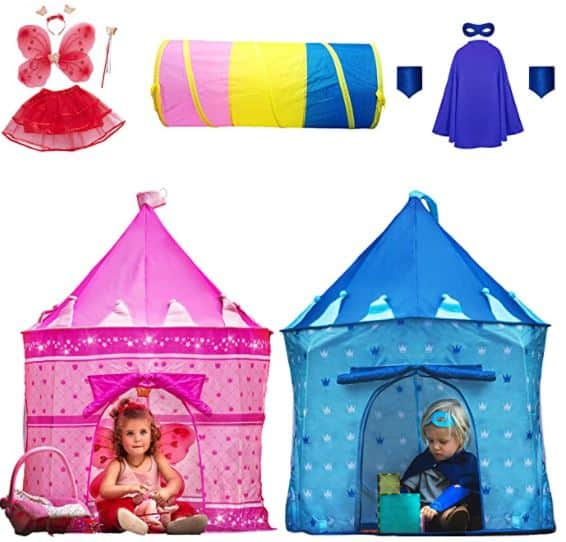 Playz 10-Piece Boys & Girls Dress Up Castle Play Tent Bundle with Crawl Tunnel