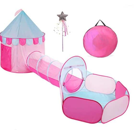 TRUEDAYS Princess Castle Pink Play Tent with Tunnel