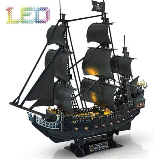 CubicFun 3D Puzzle Led Pirate Ship Queen Anne's Revenge Large 27'' Model Kit