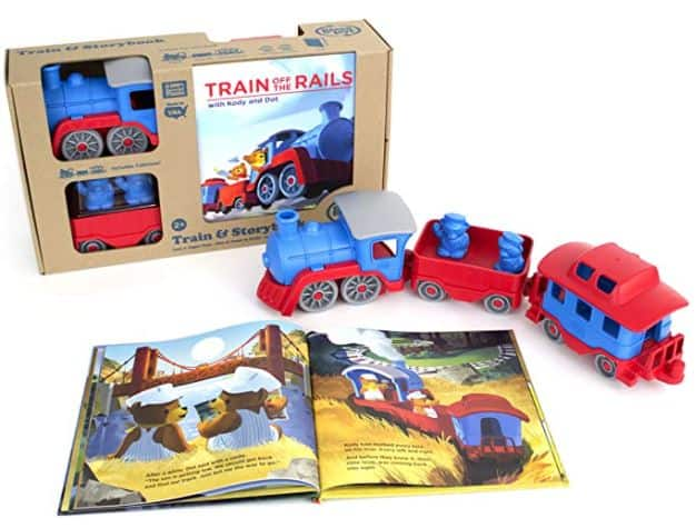 green toys toy train and storybook