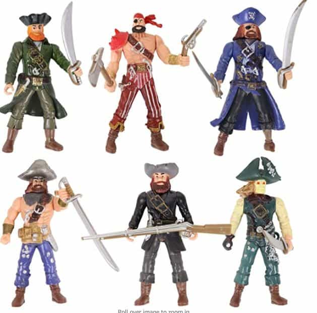 HAPTIME 6 Pcs Pirates Action Figure Playset