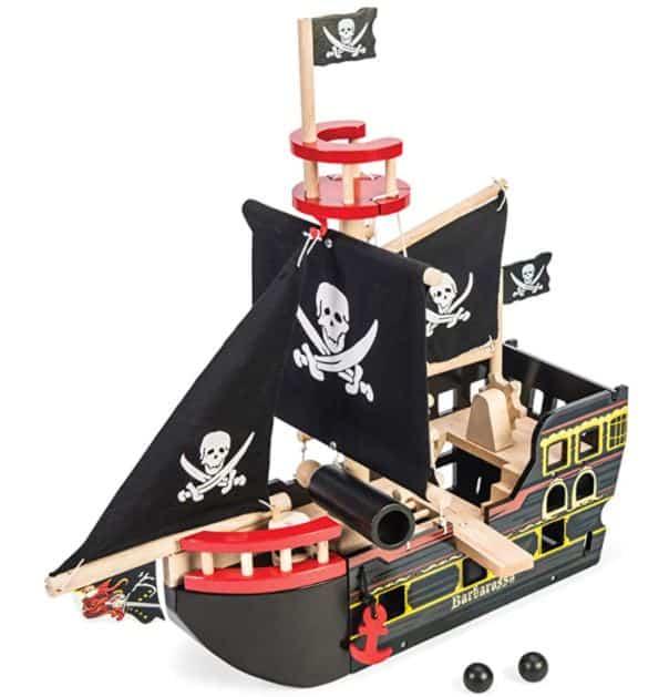 Le Toy Van Barbarossa Pirate Ship Set Premium Wooden Toys