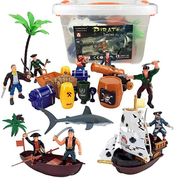 Liberty Imports Bucket of Pirate Action Figures Playset