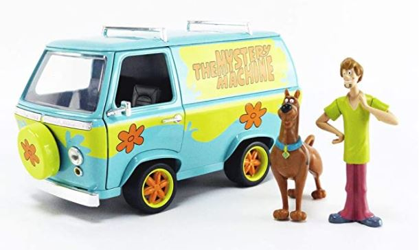 "Scooby-Doo 1:24 Mystery Machine Die-cast Car with 2.75"" Shaggy and Scooby Figures"